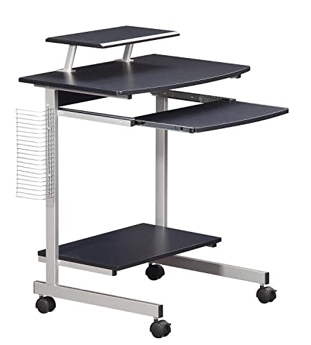 Mobile Compact Complete Computer Workstation Desk. Color Graphite