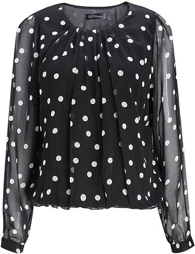 SODIAL Blusa de chiffon de mujer sexy Camisa de chiffon de lunares Chaqueta de guisantes de vela Camisa shaqueta Negro y Blanco Punto L