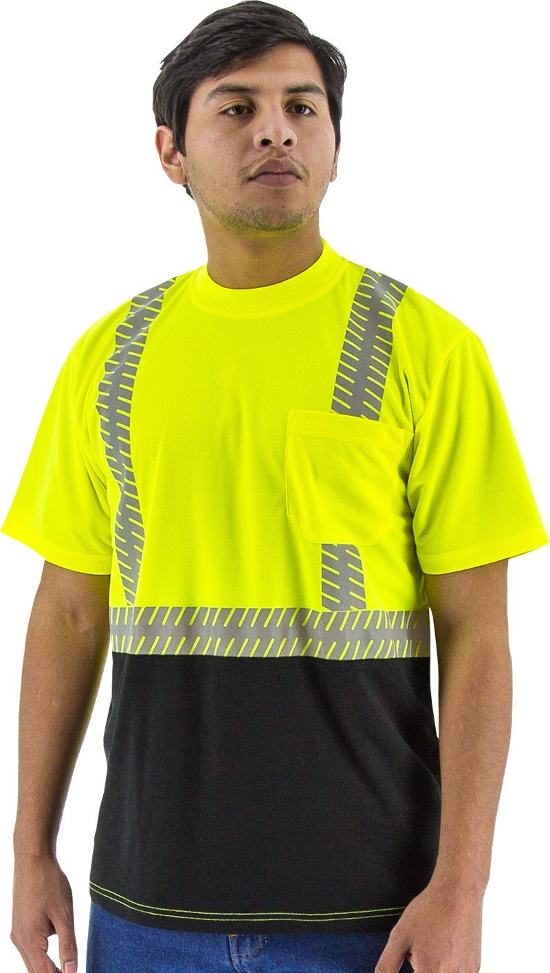 Majestic 75-5215 Birdseye Yellow Mesh T-Shirt ANSI 2 Black Bottom XL Size