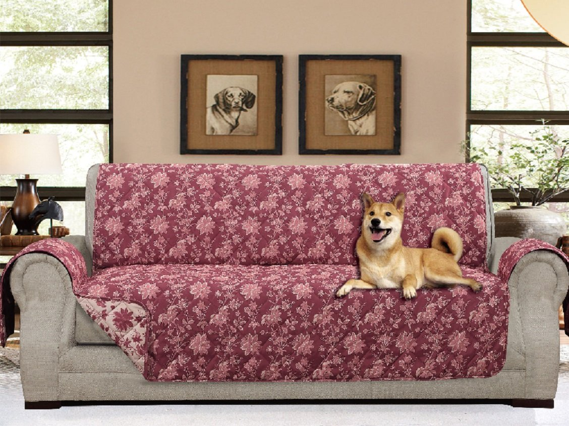 "American Home Reversible Slipcover Furniture Protector with Removable Elastic Strap - Protection from Soils, Spills, Stains and Pets - Carrie Toile (Sofa (124"" x 70""), Burgundy)"