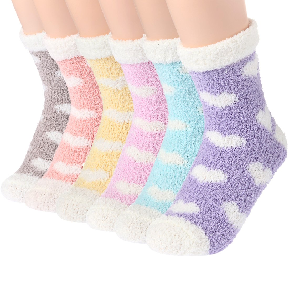 Plush Slipper Socks Women - Colorful Warm Crew Socks Cozy Soft 6 Pairs for Winter Indoor (Heart-shaped Pattern)