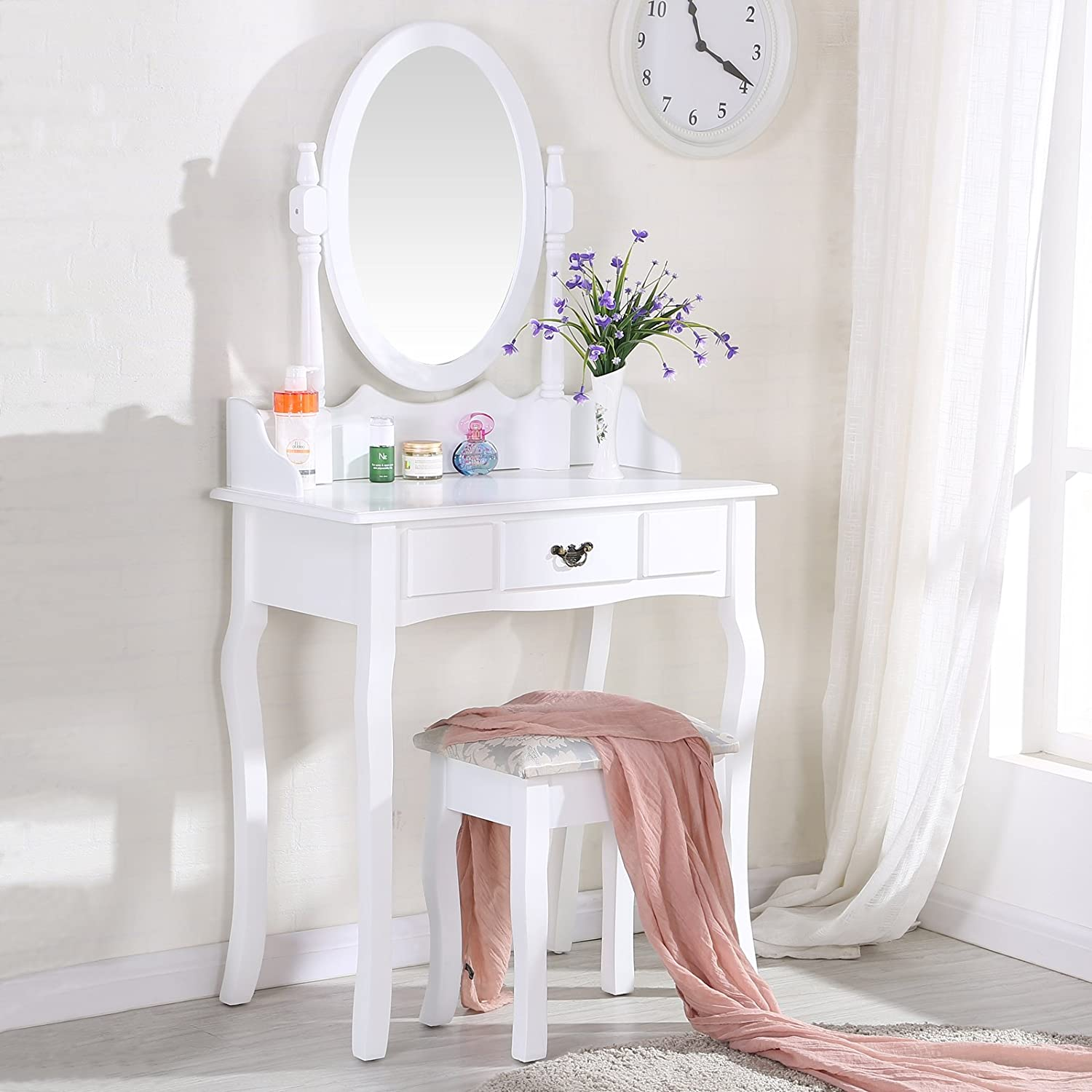 uenjoy coiffeuse table de maquillage blanche avec tabouret et miroir ovale grand tiroir with. Black Bedroom Furniture Sets. Home Design Ideas
