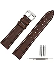 Leather Watch Strap Soft w/Watch Clasp Buckle Watch Band Bracelet Replacement