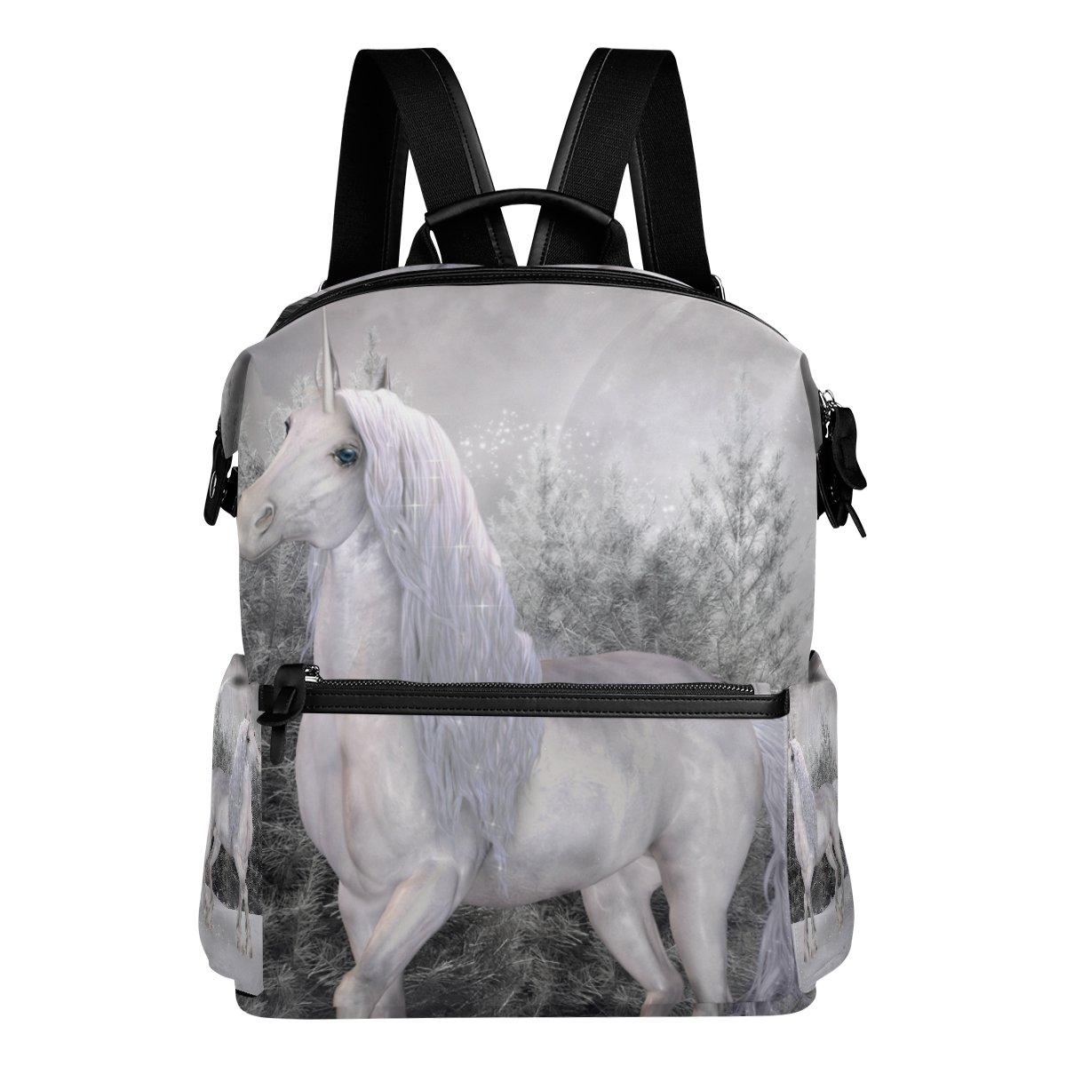 COOSUN Unicorno in una scuola di paesaggio di inverno Zaino di viaggio Multi
