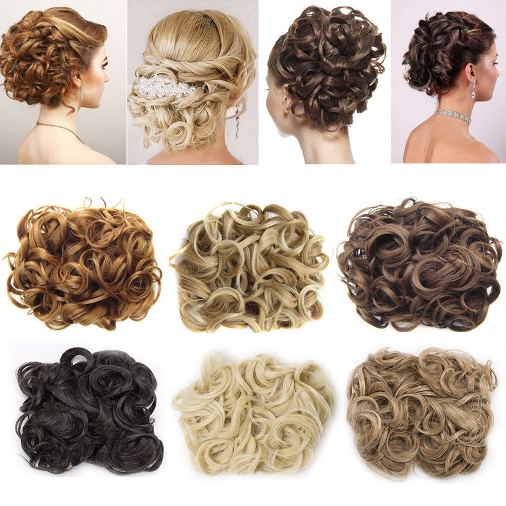 Sexybaby Combs Chignon Messy Curly Hair Bun Extension Clip in Updo Twirl Scrunchie DIY Long Wrap Around Hair Band