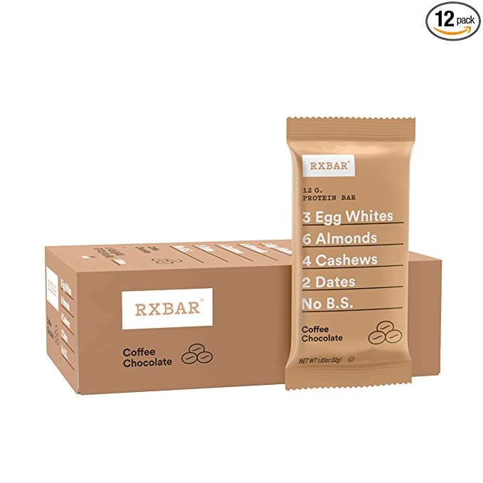 RXBAR, Coffee Chocolate, Protein Bar, 1.83 Ounce (Pack of 12), High Protein Snack, Gluten Free: Amazon.com: Grocery & Gourmet Food