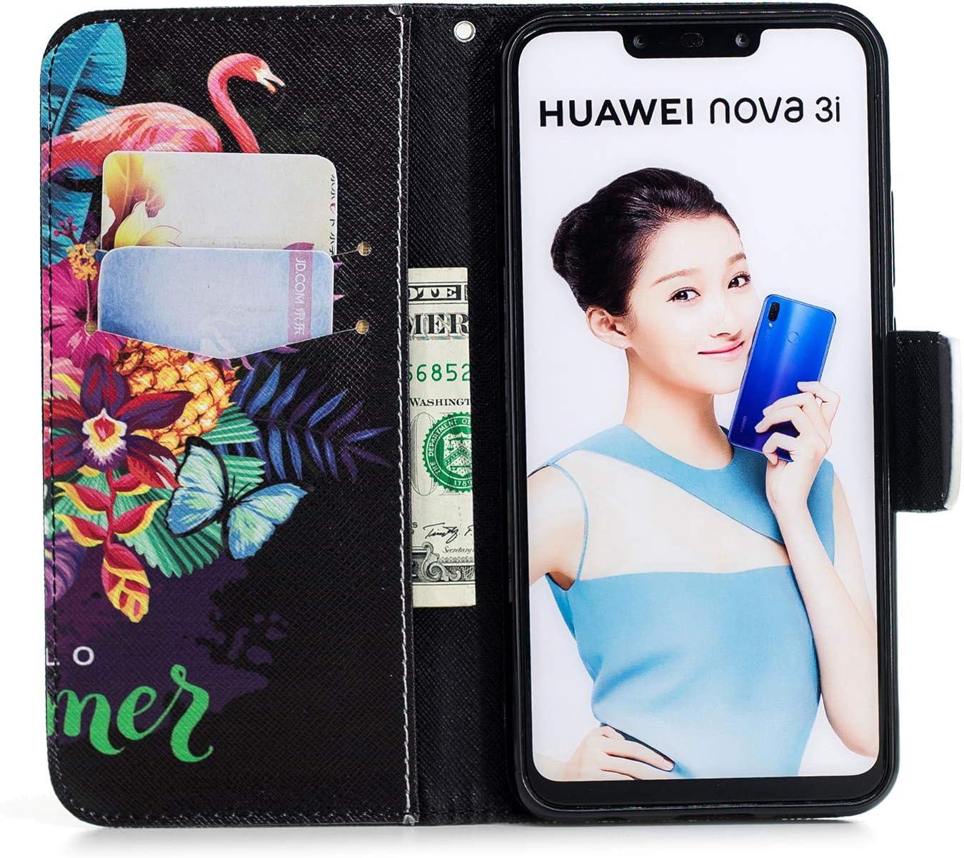 Case Huawei Nova 3i // P Smart+ LOBFE13983#1 Lomogo Leather Wallet Case with Kickstand Card Holder Shockproof Flip Case Cover for Huawei Nova3i//P Smart Plus 2018