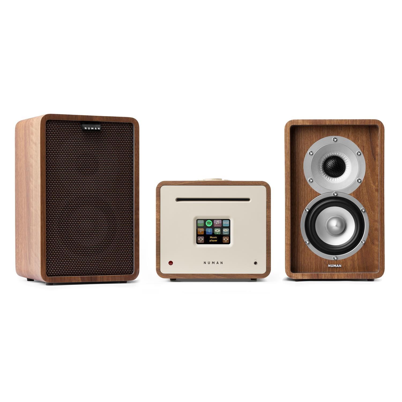 Bluetooth Receptor Amplificador FM NUMAN Unison Retrospective 1979S Edition Altavoces HiFi 2x40 W RMS Blanco Reproductor CD Dab+ Spotify USB Mando Pantalla TFT 90 W