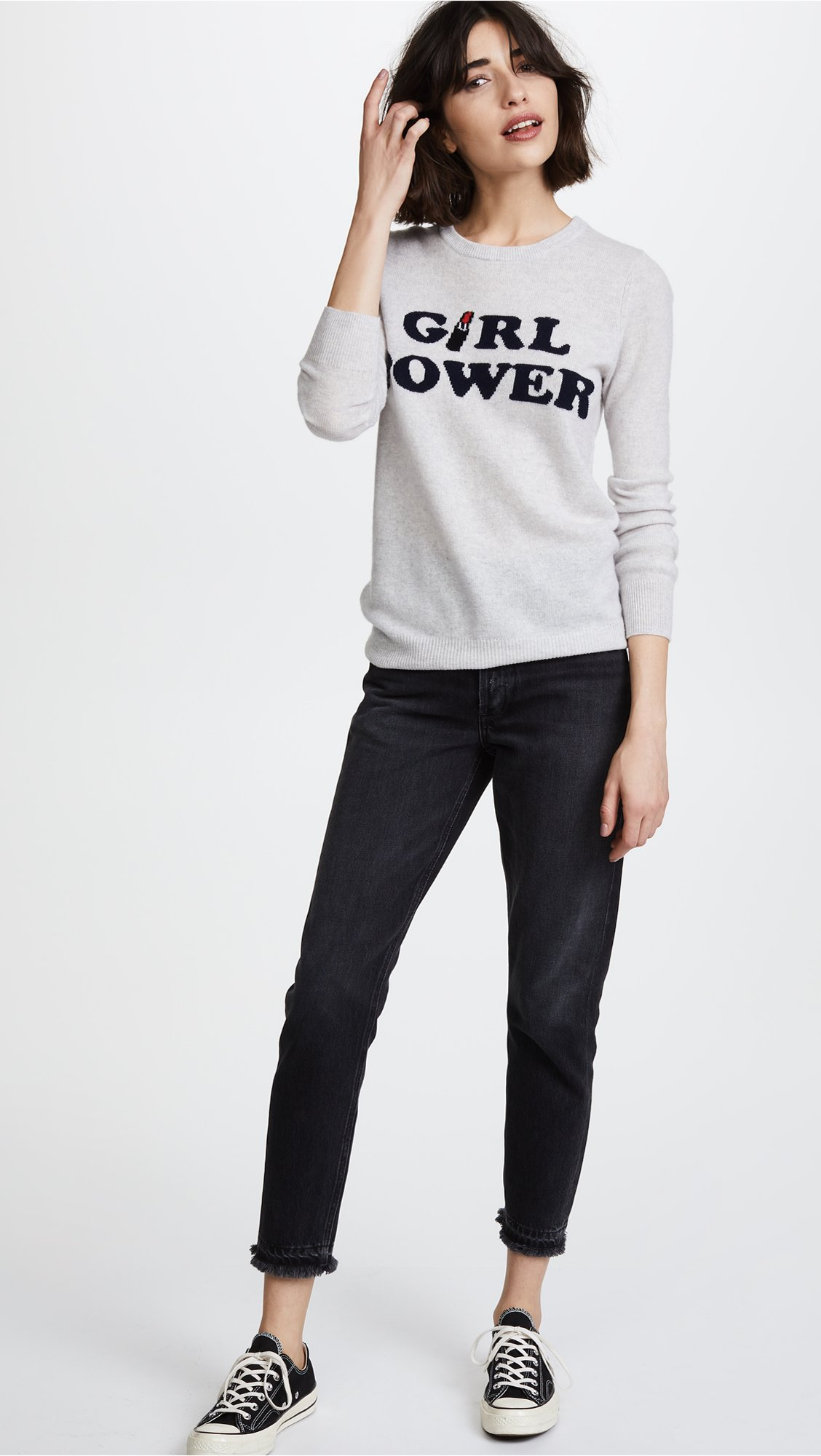 Autumn Cashmere Women's Intarsia Cashmere Sweater, Sleet/Navy Combo, X-Small by Autumn Cashmere (Image #5)