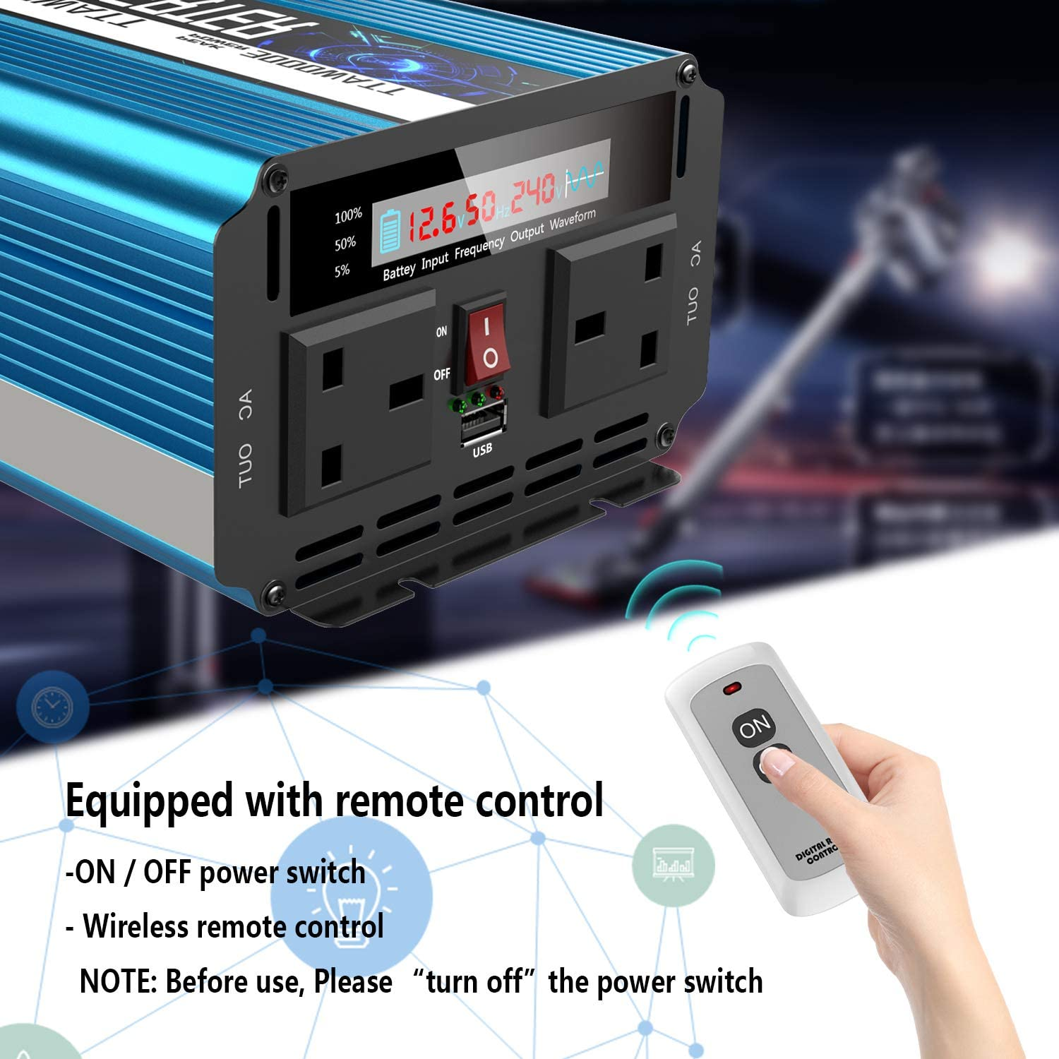 SUDOKEJI Pure Sine Wave Power Inverter 1500W DC 12V to AC 240V converter with remote controller /& dual AC outlets for RV Truck Car