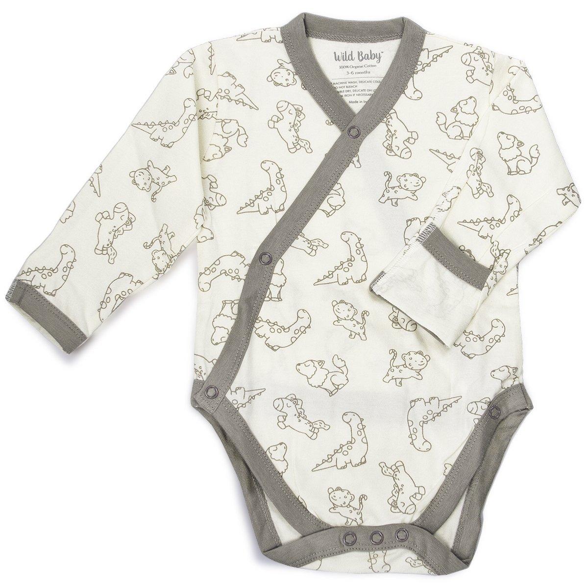 WILD BABY Organic Cotton Baby Kimono Bodysuit Onesie