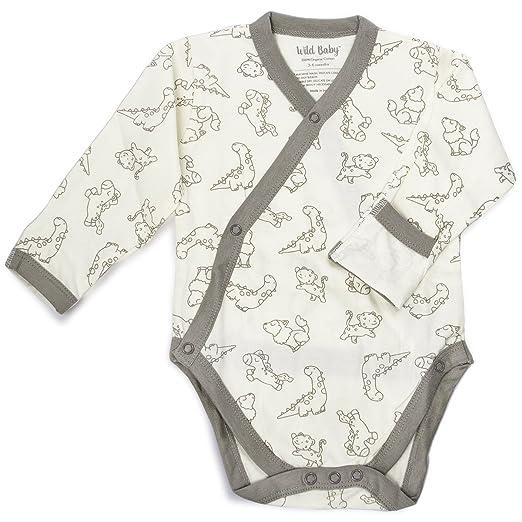 14ba0e403 Amazon.com: WILD BABY Organic Cotton Baby Kimono Bodysuit Long ...