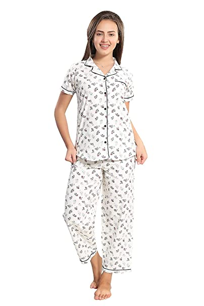 75967a7cdd PIU Women s Cotton Full Sleeves Top and Pyjama Set (White