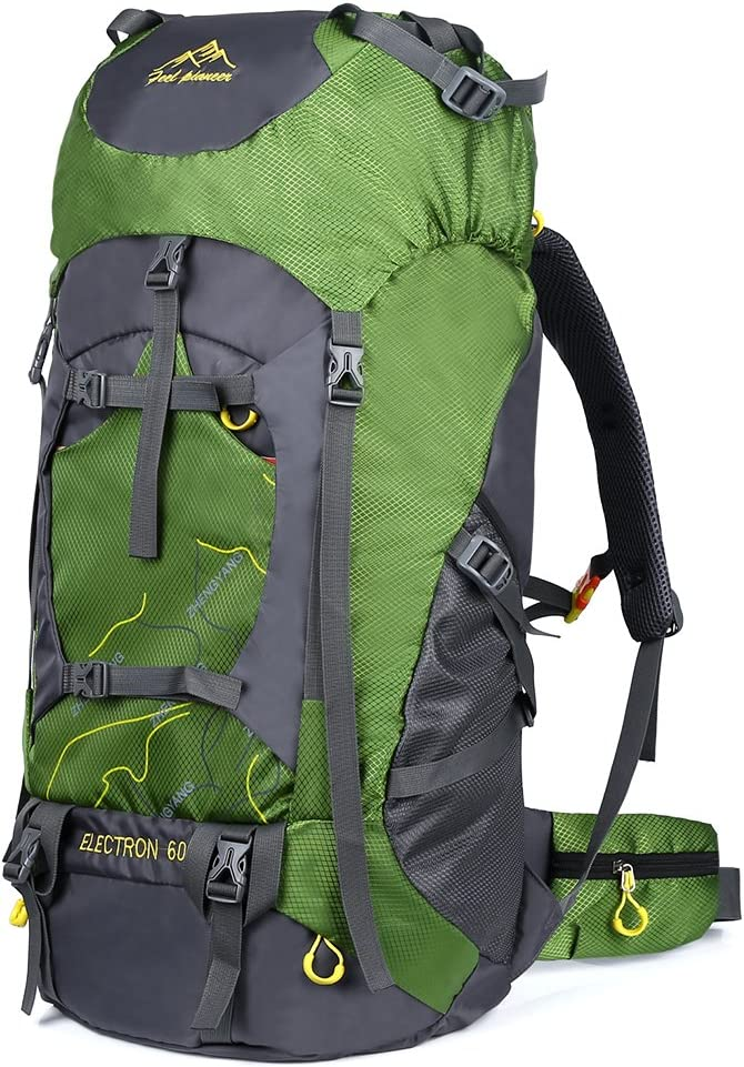 VBG VBIGER Hiking Backpack 60L Waterproof Backpacking Pack for Climbing Trekking Mountaineering with Rain Cover