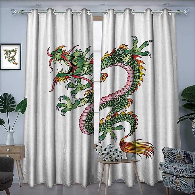 homehot Cortina de Ventana con diseño de dragón japonés para ...