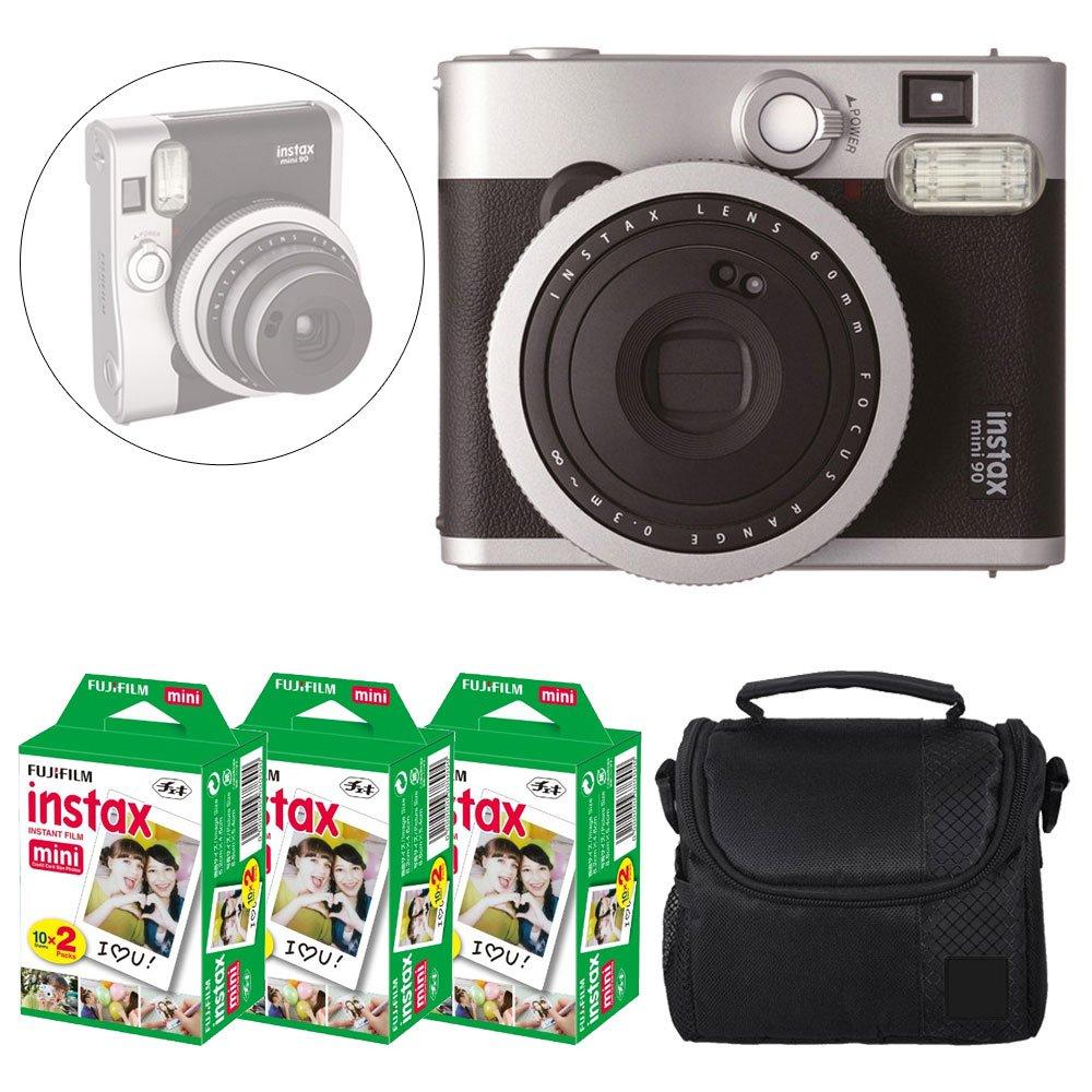 Fujifilm INSTAX Mini 90 Neo Classic Instant Camera (Black) + Fujifilm Instax Mini Instant Film (60 Exposures) + Camera Case - Deluxe Accessory Bundle by Fujifilm