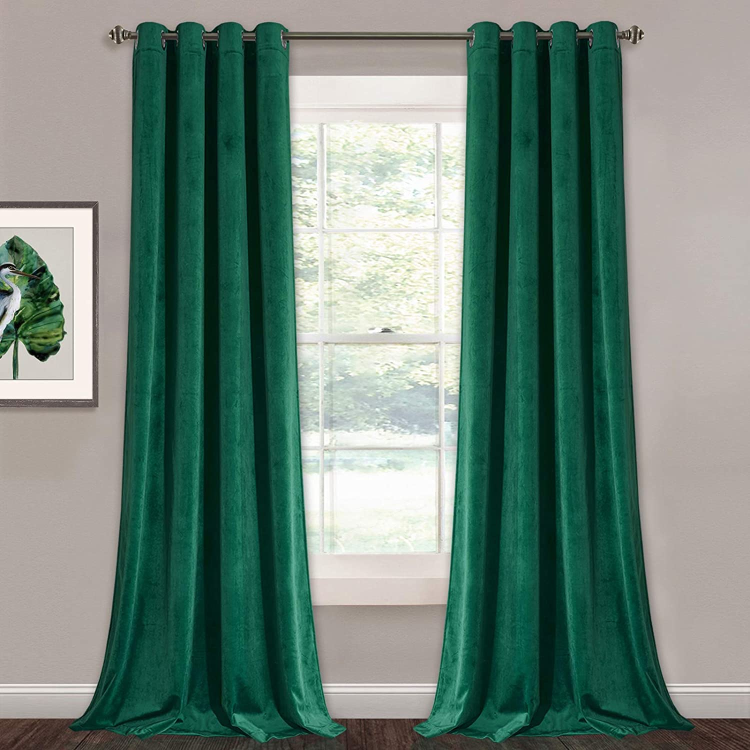 Green Velvet Curtains 96 inches - Super Soft Luxury Blackout Velvet Drapes Elegant Home Decor Window Covering for Living Room / Dining Room, W52 x L96 inches, 2 Panels
