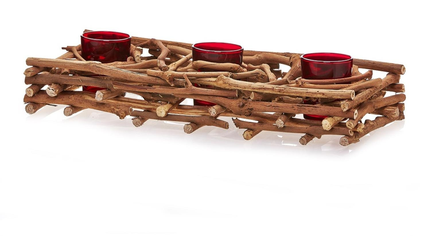 CC Home Furnishings 14.5'' Country Rustic Natural Brown Wood Branch Christmas Triple Candle Holder