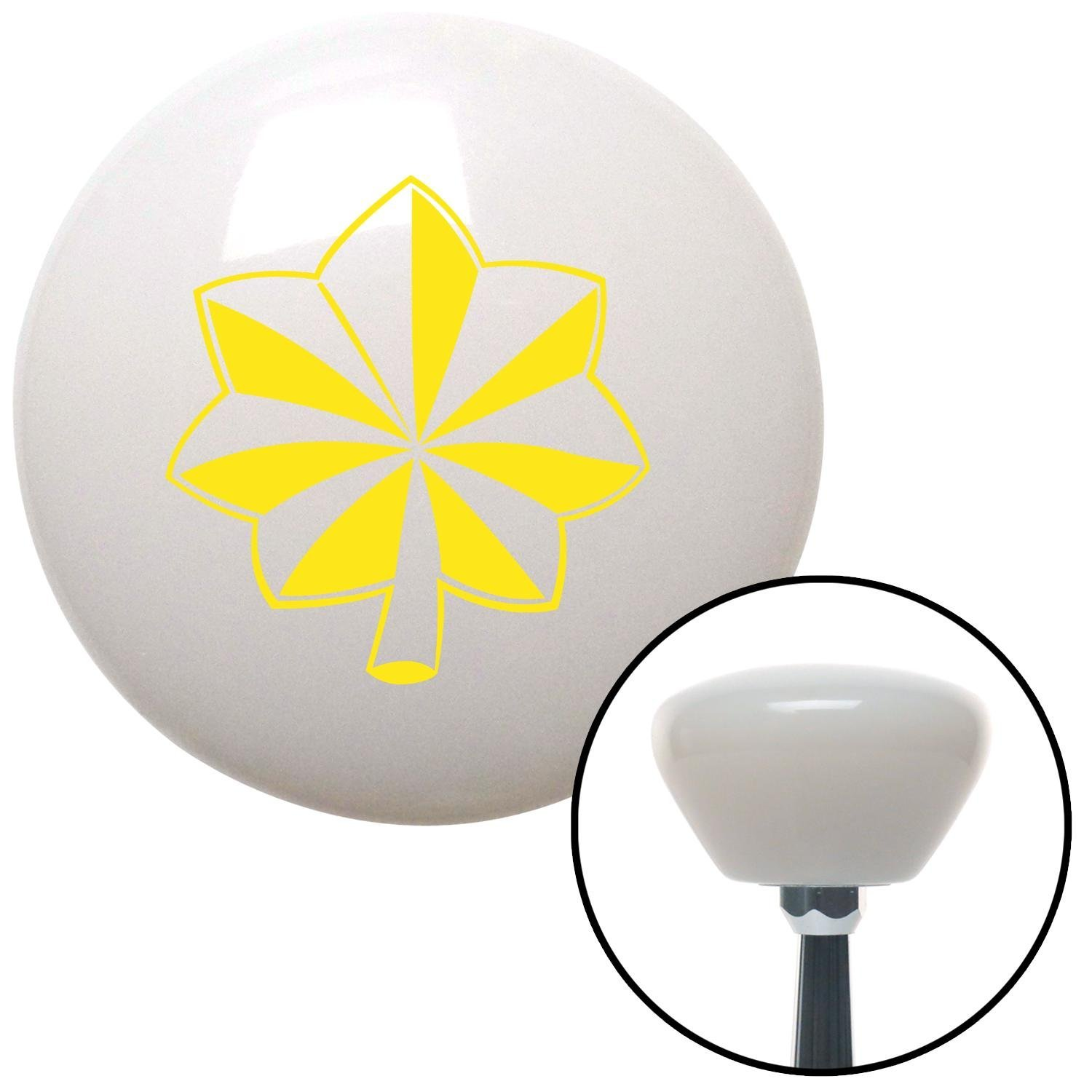 American Shifter 154408 White Retro Shift Knob with M16 x 1.5 Insert Yellow Officer 04 - Major and Lt. Colonel