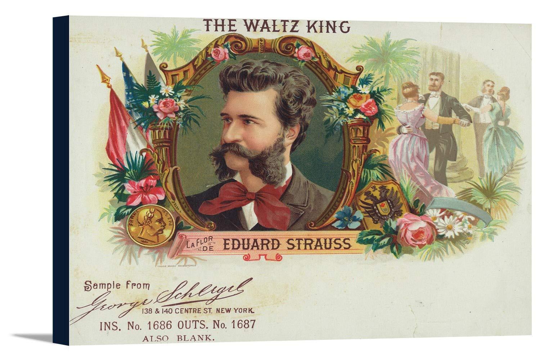 The Waltzキング、La Flor De Eduard Straussブランドシガーボックスラベル 24 x 16 Gallery Canvas LANT-3P-SC-27667-16x24 24 x 16 Gallery Canvas  B01843LH9W