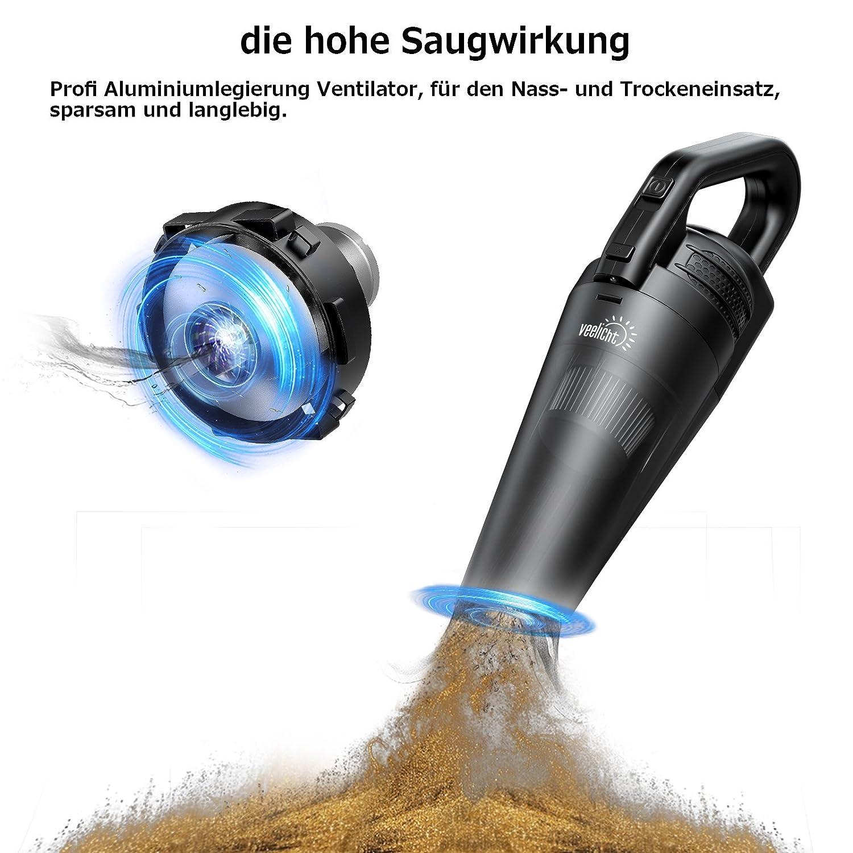 Aspirapolvere Portatile Senza Fili Aspirapriciole Ricarica Rapida Aspirapolvere a Mano Potente 5000Pa Mini Aspirapolvere con luce a LED e filtro lavabile in acciaio inossidabile Secco//Umido