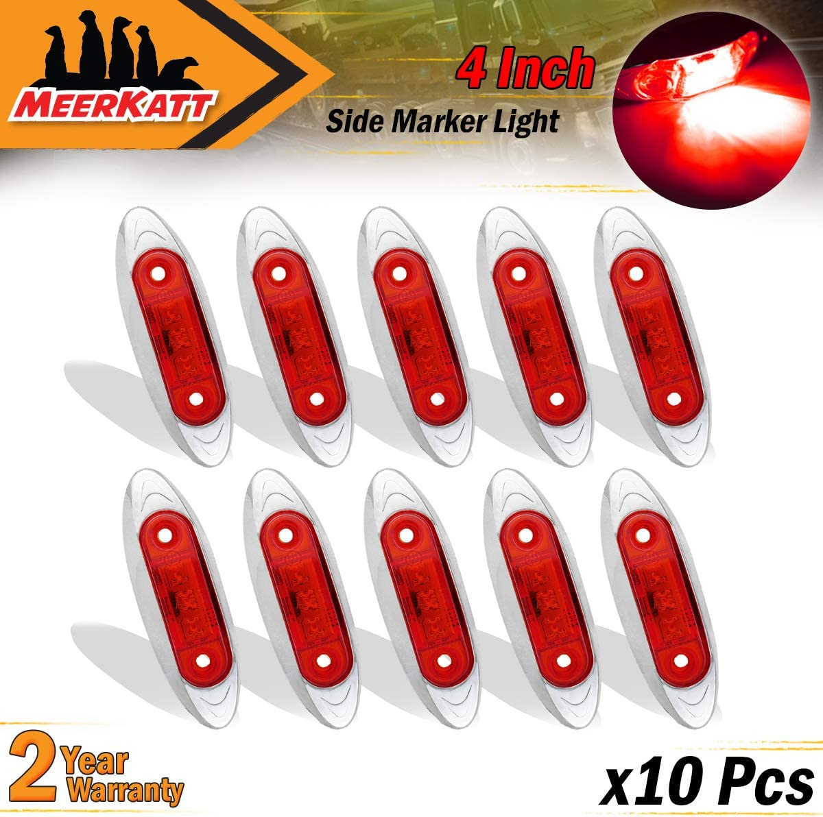 2.5 Inch Small Oval Amber LED Sealed Marker Clearance Bulb Indicator Light Universal Surface Mount Car Truck Trailer ATV Boat Camper Jeep Van Chrome Bezel 12v DC Waterproof QR12 Pack of 10 Meerkatt