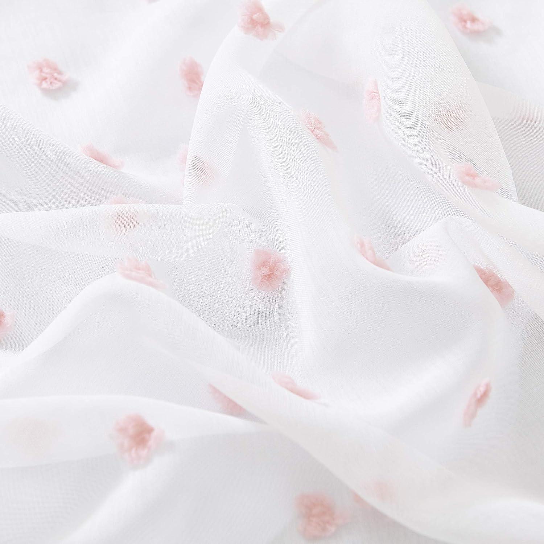 Deconovo Cortinas y Visillos Sal/ón Trasl/úsidas para Ventana Dormitorio Moderno Voile Gasa Infantiles Ni/ña Blancos 140 x 180 cm Rosa