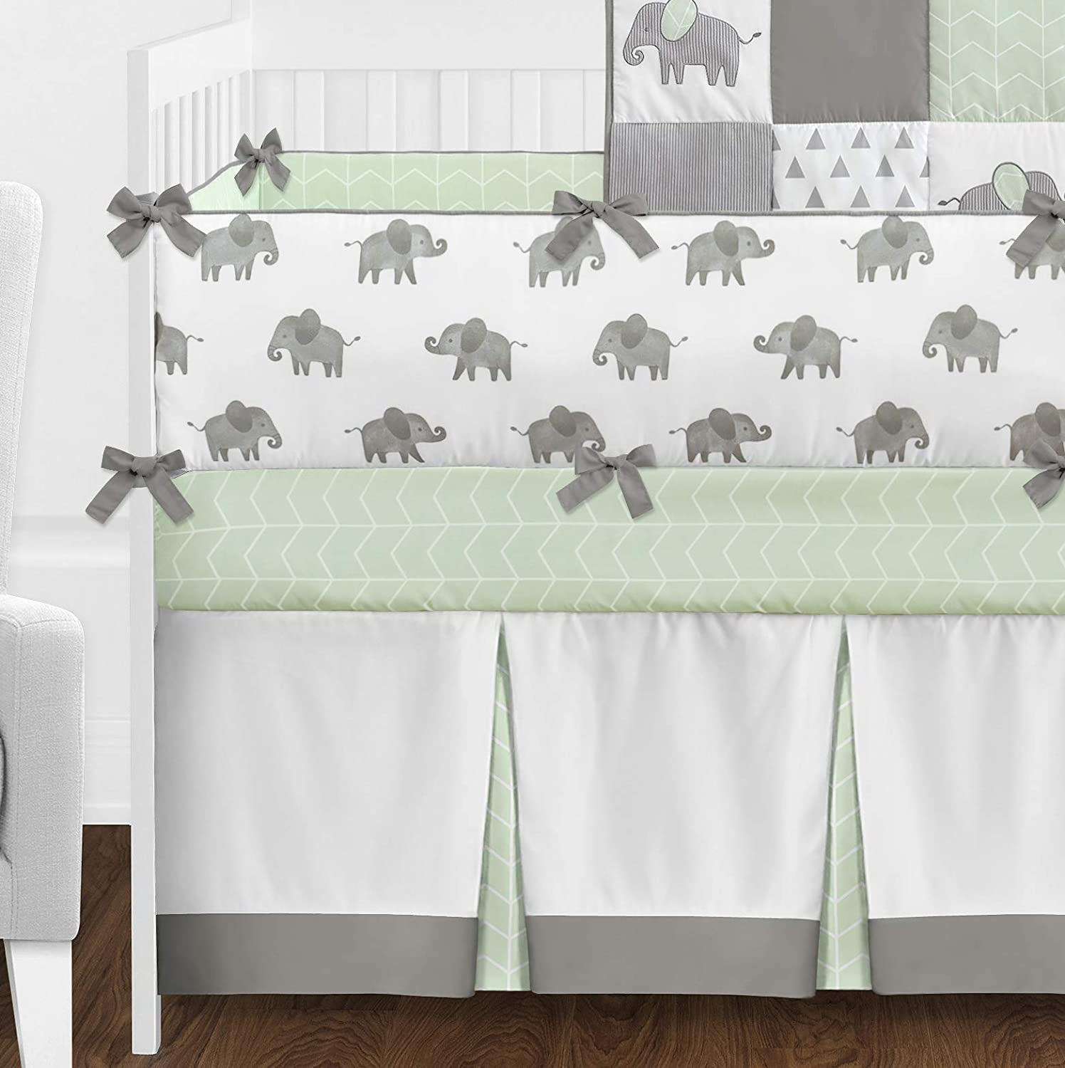 Grey and White Watercolor Elephant Safari Baby Unisex Crib Bedding Set with Bumper Sweet Jojo Designs Mint 9 Pieces