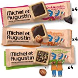 Michel et Augustin Chocolate French Cookie Squares | Variety Pack Chocolate and Pure Butter Shortbread | 3 Flavors, 12 Count