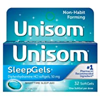 Unisom Sleep Gels, Nighttime Sleep-Aid, 50 mg Diphenhydramine HCl, 32 Soft Gel Capsules