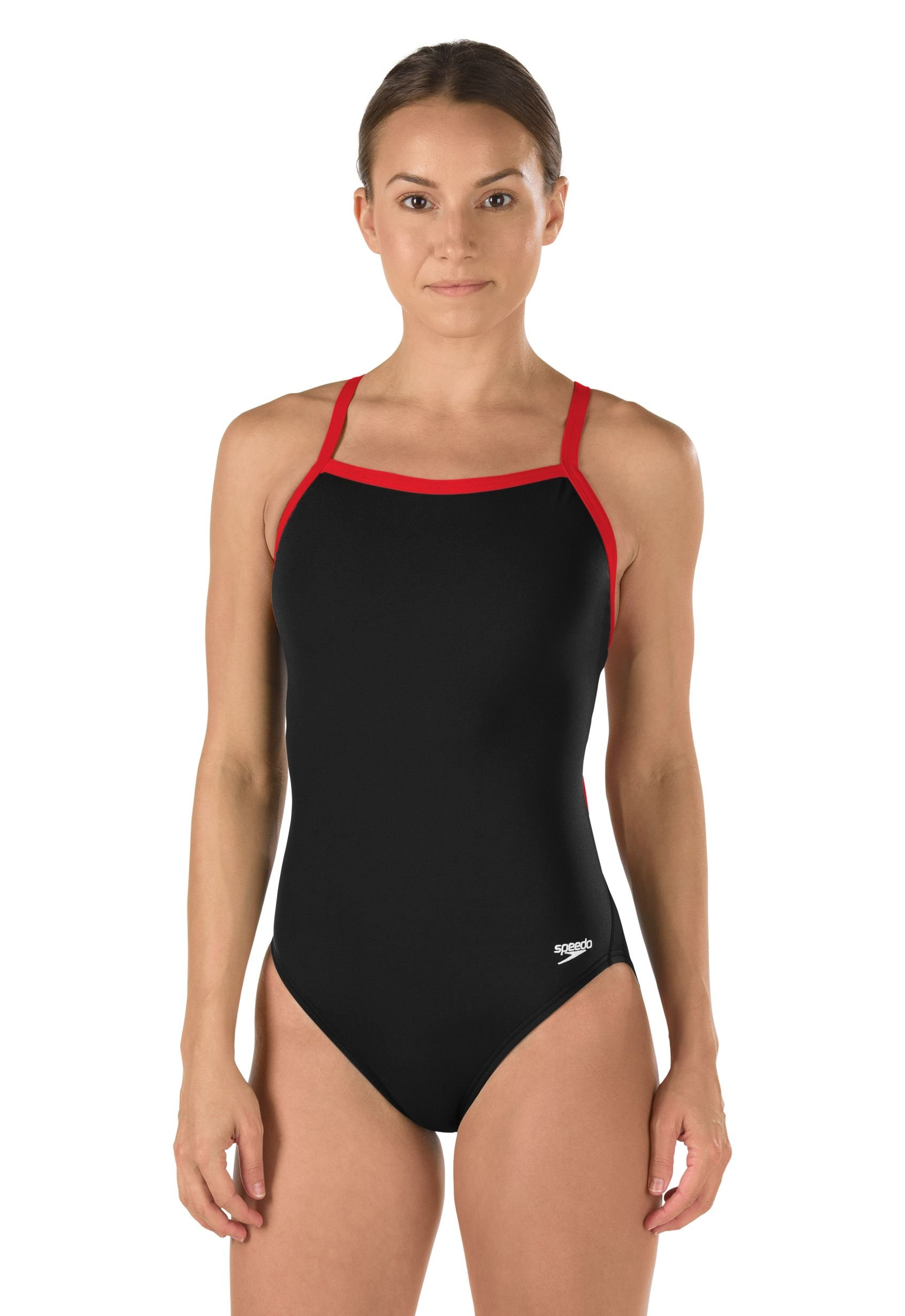Speedo Women's Race Endurance+ Polyester Flyback Training One Piece Swimsuit, Black and Red, 38(Youth)
