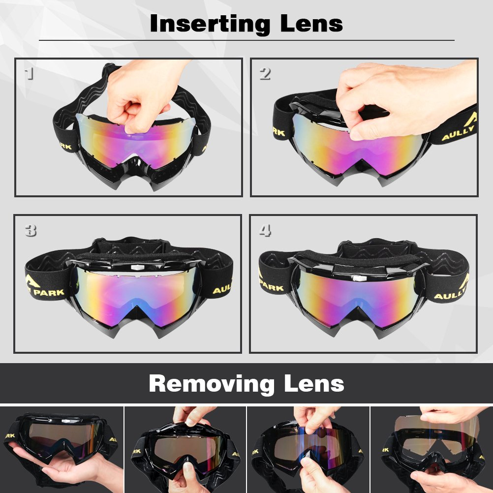 AULLY PARK Motorcycle Goggles, Dirt Bike Goggles Grip For Helmet, ATV Motocross Mx Goggles Glasses with 3 Lens Kit Fit for Men Women Youth Kids by AULLY PARK (Image #5)