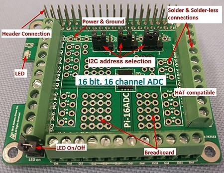 Alchemy Power Inc  Pi-16ADC  16 channel, 16 bit Analog to Digital Converter  (ADC) for Raspberry Pi