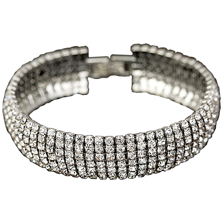 Crystal 6 Row Rhinestone Tennis Bracelet w/ Toggle Clasp - Silver Plated by Foxy Lady Jewelry (Image #2)