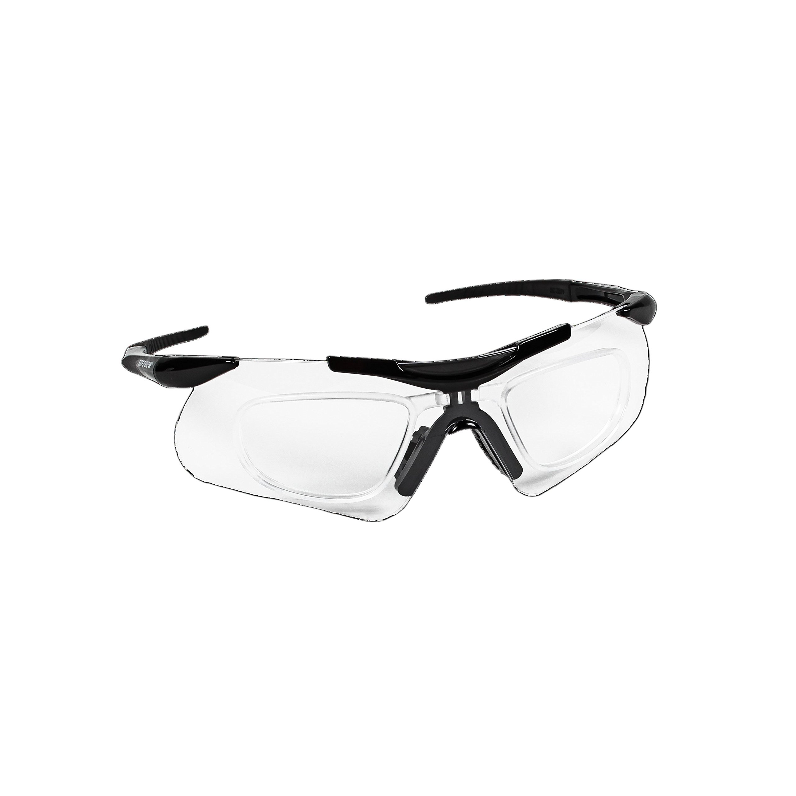 Jackson Safety 38503 V60 Safeview Safety Glasses with RX Inserts, Clear Anti-Fog Lenses with Black Frame (Pack of 12)