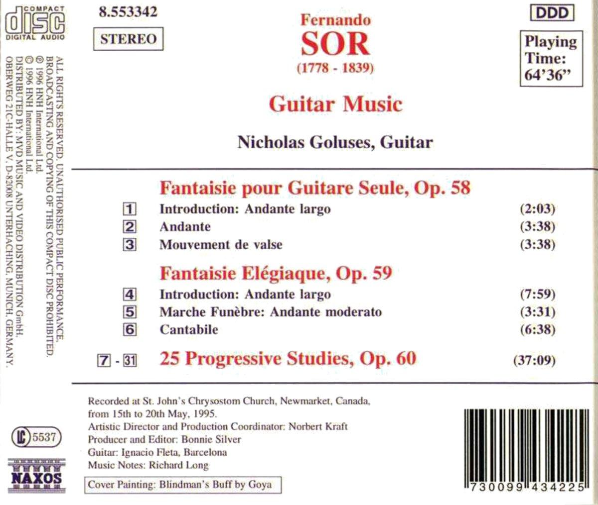 Fernando Sor, Nicholas Goluses  Sor: Guitar Music Opp 58, 59 & 60   Amazon Music