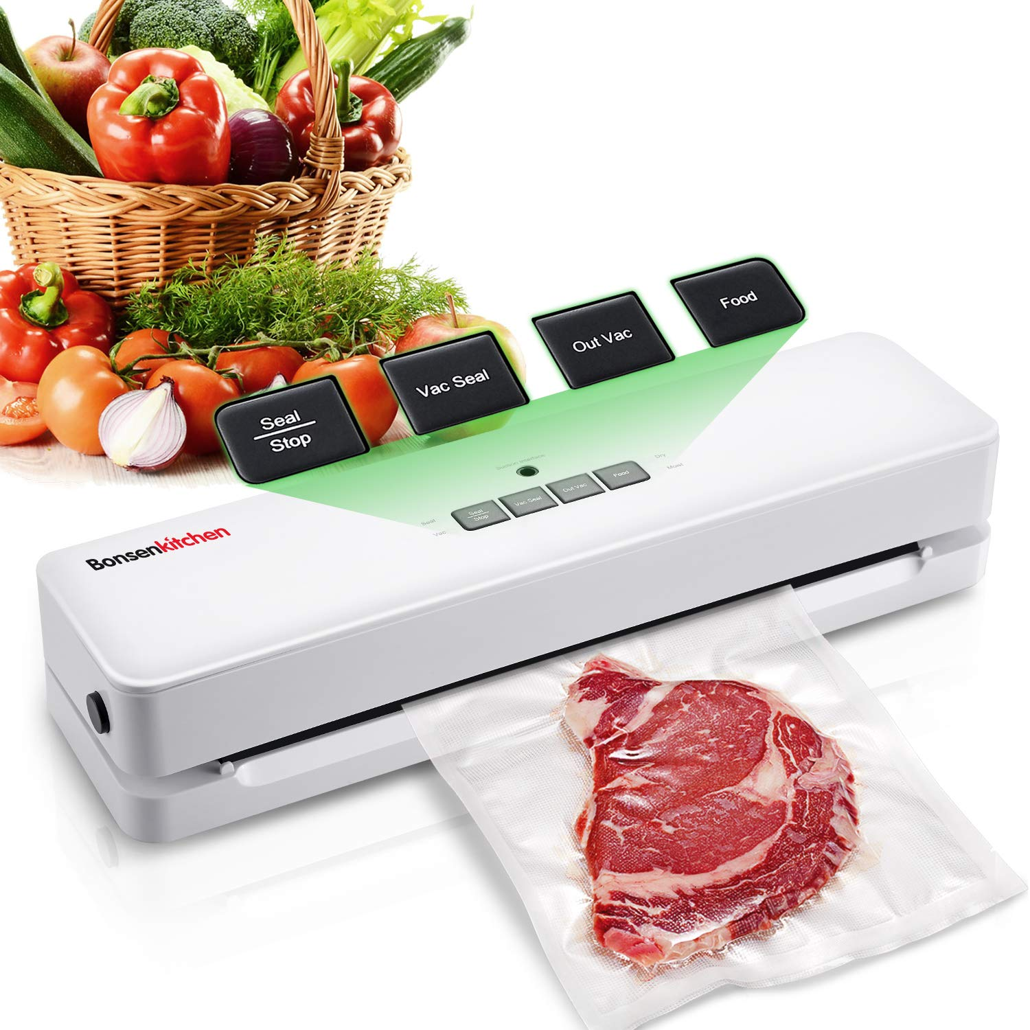 Bonsenkitchen Vacuum Sealer Machine for Food Saver, Compact Food Sealer for Sous Vide Cooking, One Key Automatic Vac/Seal Food Preservation with Starter Kit by Bonsenkitchen