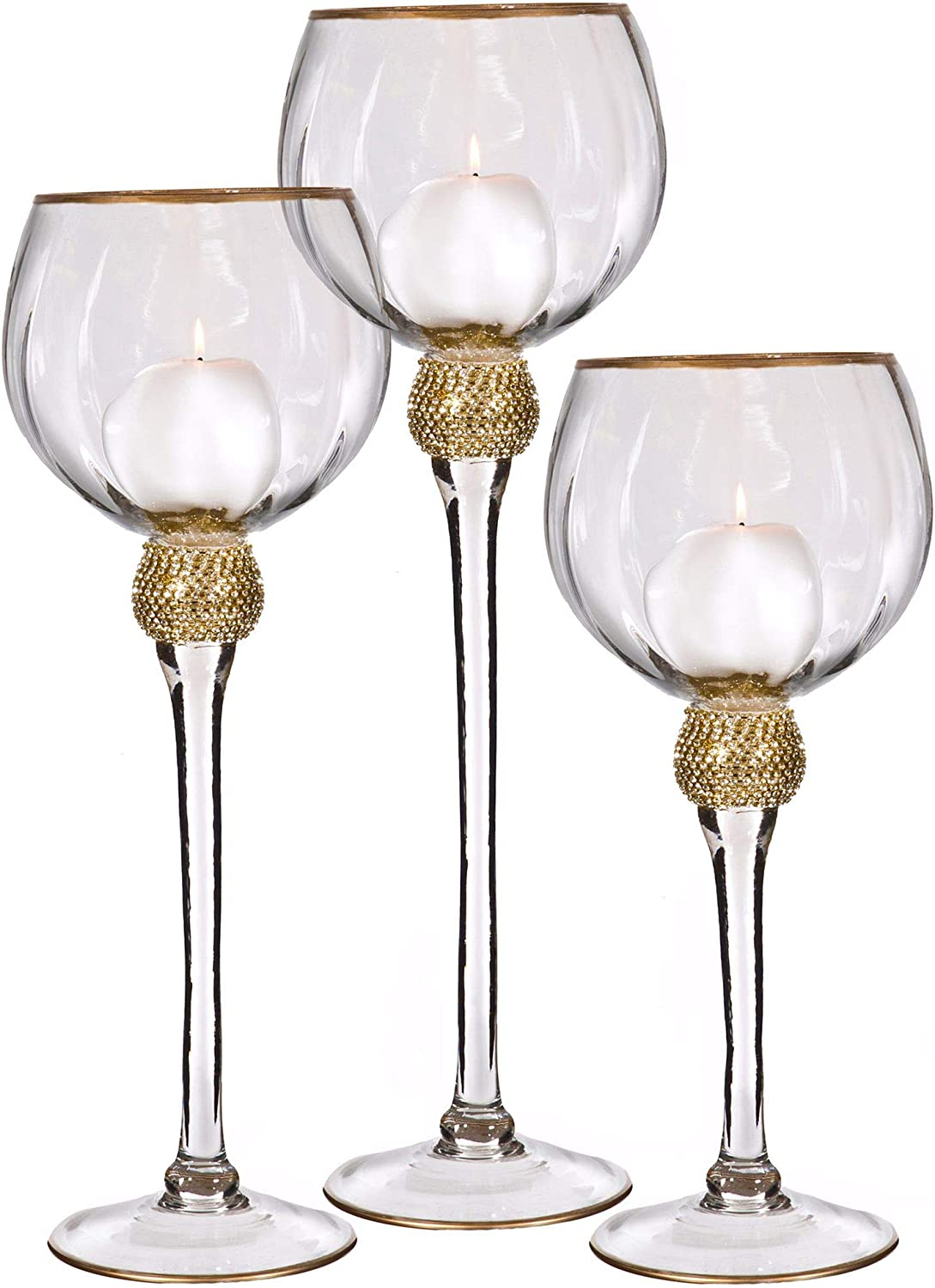 Palais Glassware Elegant Bougeoir Collection, Set of 3 Hurricane Candle Holders (Clear with Gold Diamonds and Rims)