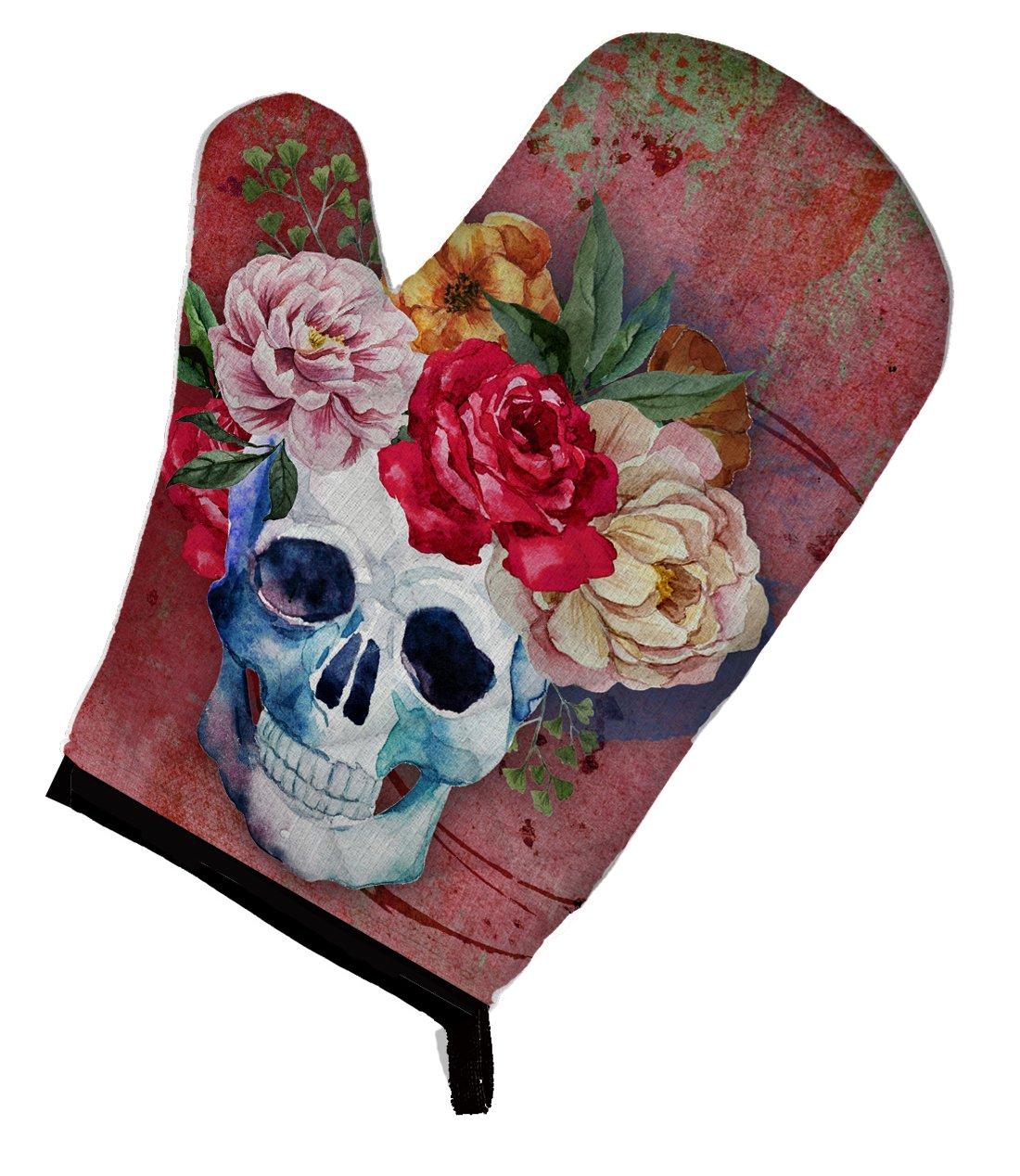 Caroline's Treasures BB5130OVMT Day of the Dead Red Flowers Skull Oven Mitt, Large, multicolor
