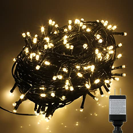 pms 800 led warm white string fairy lights on dark green cable with 8 light effects