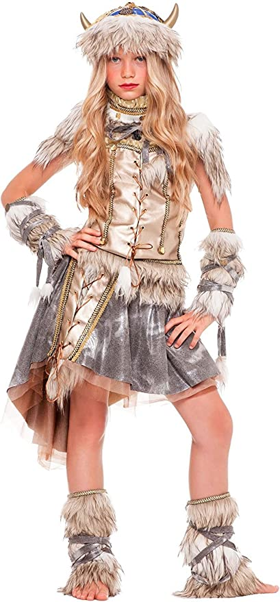 chiber Disfraces Disfraz de Guerrera Vikinga para Niña (Talla 7 ...