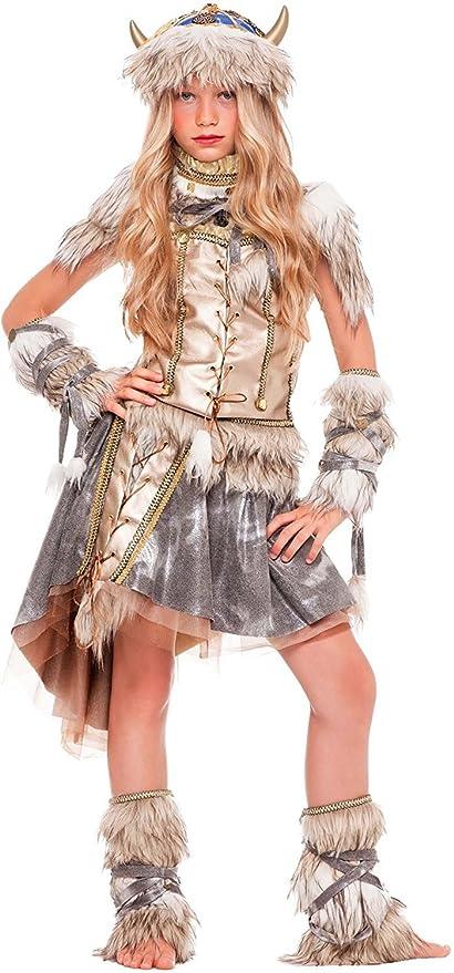 chiber Disfraces Disfraz de Guerrera Vikinga para Niña (Talla 8 ...