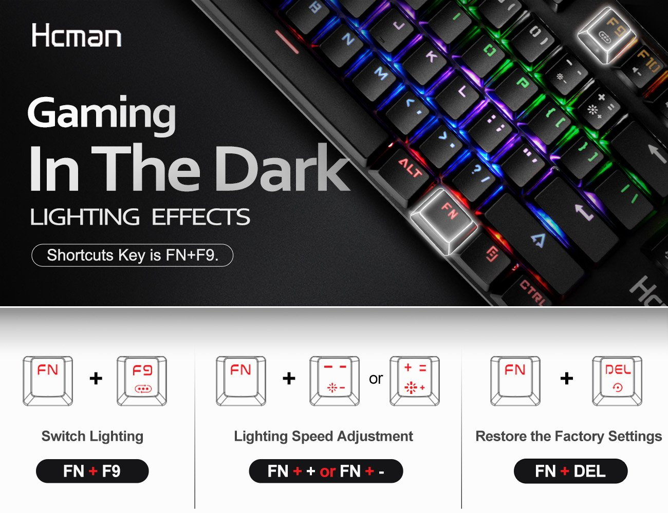 Mechanical Gaming Keyboard LED Backlit - Hcman Wired Keyboard Blue Switches 9 Backlight Modes,Metal Plate 100% Anti-ghosting for Computer PC & Mac Gamers (Black)