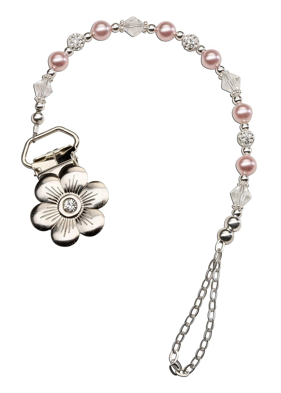 Amazon.com: Plata de Ley Daisy Binky Clip con rosa Clip de ...