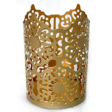 Esca Di Luce Decorative Votive Candle Holders Set For Table Centerpiece Pillar Tea Lights Wedding Aromatherapy And Party Gold Motif 6 Inches