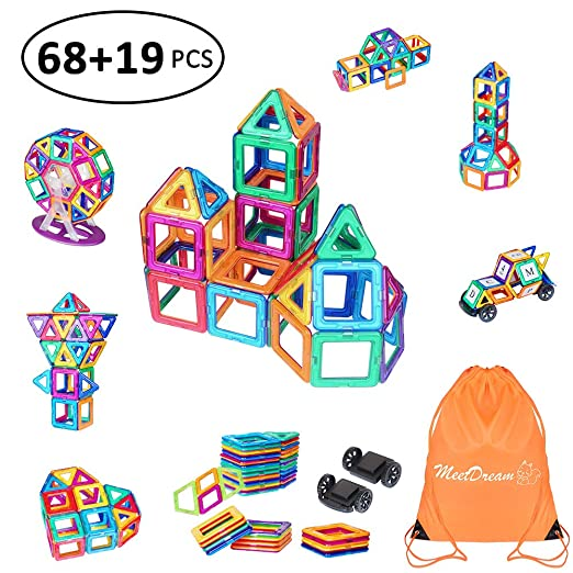 Meetdream Magnetic Building Blocks 87 Pieces Educational Toys Magnetic Tiles Building Set Stacking Blocks with Wheels for Toddler/Kids,Instruction Booklet and Storage Bag Included (MD)