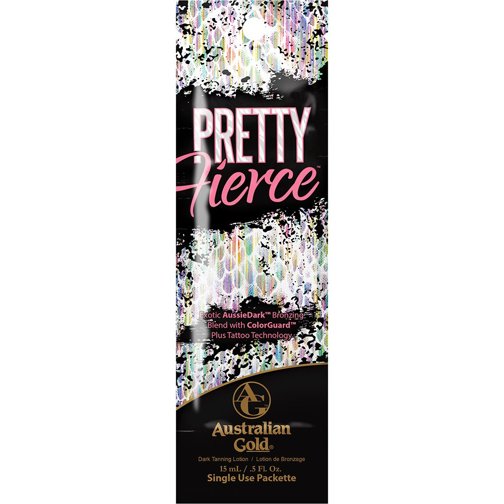 Australian Gold Pretty Fierce sunbed tanning lotion cream with bronzers & tattoo technology (250ml tube + 4 FREE GIFTS)