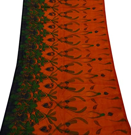 PEEGLI Las Mujeres Antigüedades Sari Étnico Nylon Impresa Vestido Naranja Pareo Material Reciclado Utilizado Decoración Del