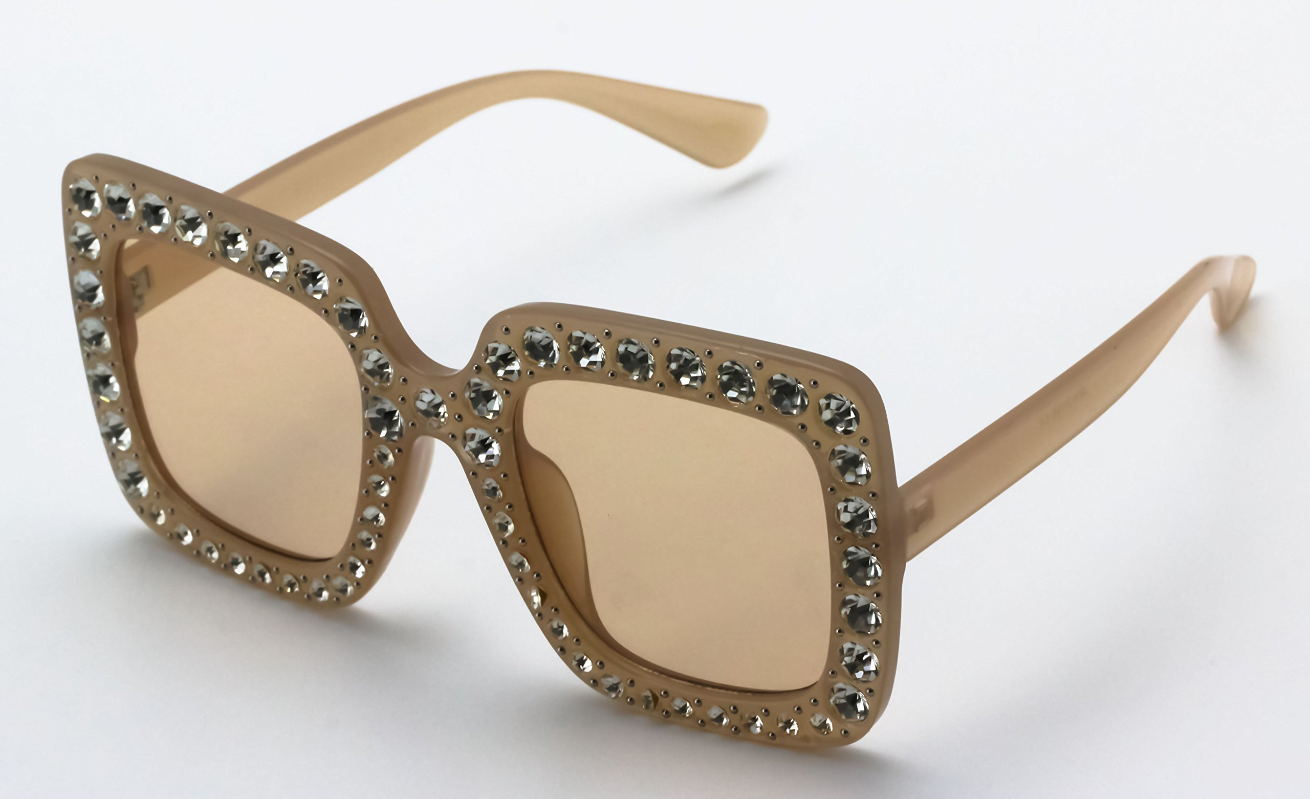 Elite Oversized Square Frame Bling Rhinestone Crystal Brand Designer Sunglasses For Women 2018 (Peach, 52) by Elite Glasses (Image #4)