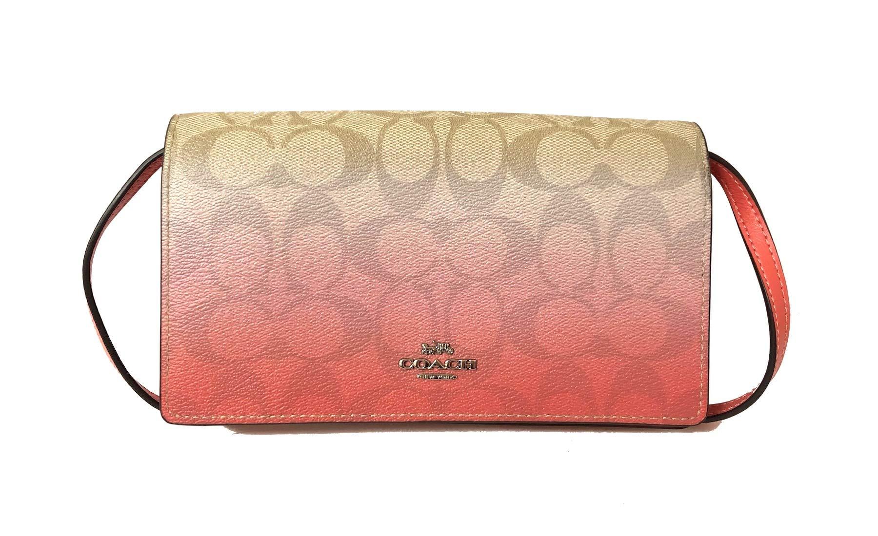 Coach Foldover Clutch Wallet Pebbled Leather Crossbody Bag F30256 (SV/Light Khaki/Pink Multi)